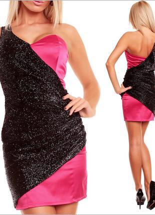Вечернее черно-розовое платье