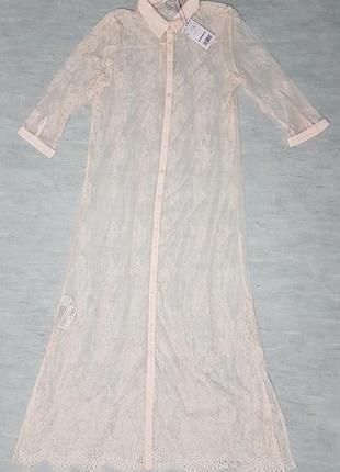 Прозрачное кружевное платье рубашка mango.