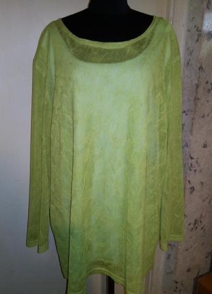 Эффектная,яркая,трикотажная блуза с маечкой, 2 в 1,большого ра...