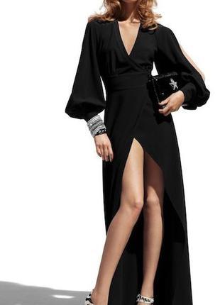 Эксклюзивное черное платье макси в пол