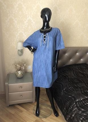 Платье котоновое со шнуровкой, размер 52-54