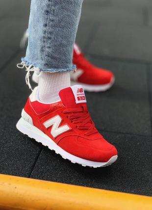 New balance 574 red/white 🔺женские  кроссовки нью беланс красн...