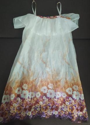Летний сарафан платье белое с цветочным узором и кружевной под...