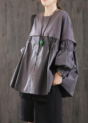 Блузка -рубашка свободного кроя оверсайз