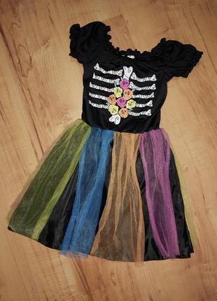 Карнавальное платье на хэллоуин скелет на 7-9 лет