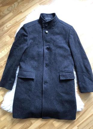Мужское пальто hugo boss, 80% шерсть, серое, 50 размер