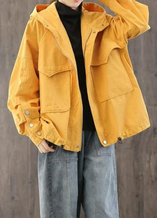 Котоновая куртка ветровка свободного кроя оверсайз