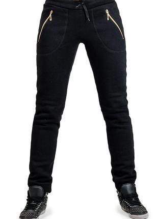 Женские теплые штаны брюки с начесом трикотажные зимние