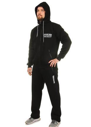 Мужской теплый спортивный костюм с начесом, трикотажный