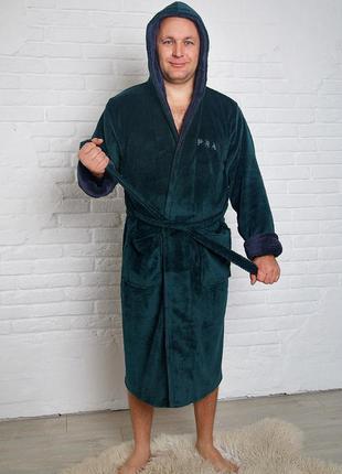Мягкий уютный махровый халат мужской, длинный