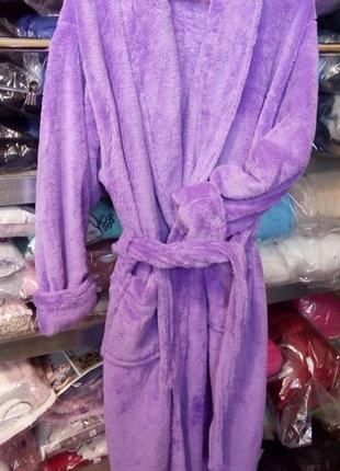 Халат женский махровый фиолетовый без капюшона