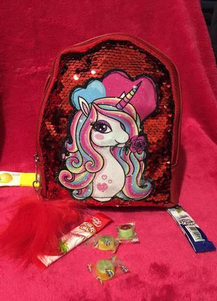 Рюкзак детский, сумочка единорог, с пайетками