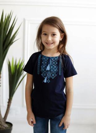 Красивая футболка вышиванка детская, дівчача вишиванка
