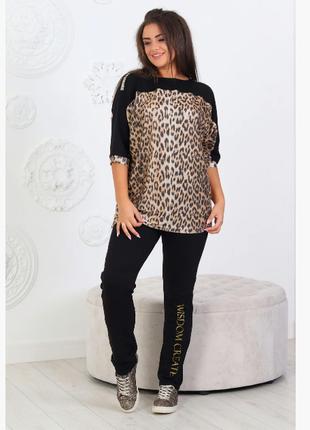 Костюм, комплект женский летний, леопардовый, батал