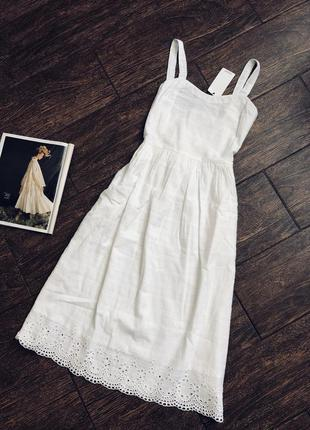 Очень красивый натуральный легкий летний белый сарафан платье