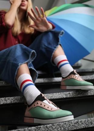 Женские кеды кроссовки кожаные стрейч без шнурков стильные раз...