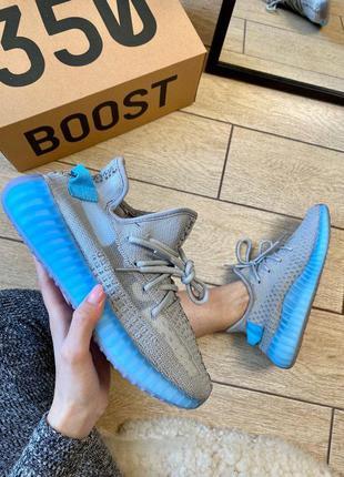Женские кроссовки adidas yeezy boost 350 v2 grey & blue 😍