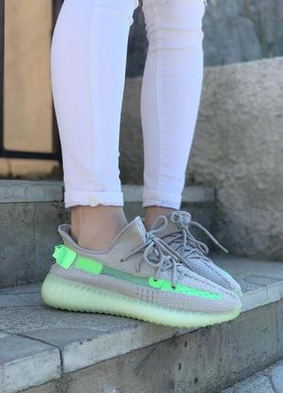 Женские кроссовки adidas yeezy boost 350 v2 grey/green😍