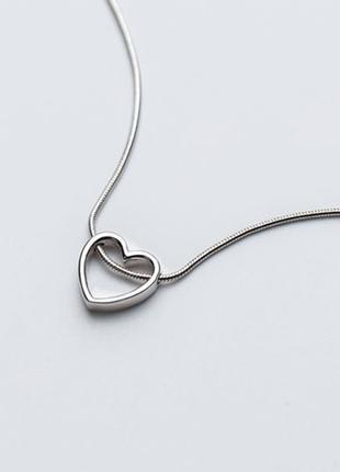серебряная подвеска , цепочка сердце