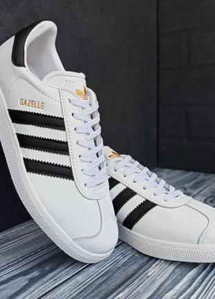 Adidas gazalle white/black 🔺мужские кроссовки адидас газели бе...
