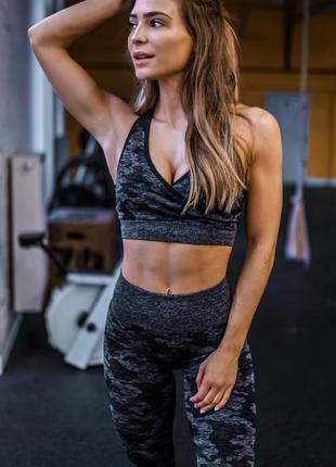 Фитнесс спорт костюм женский серый