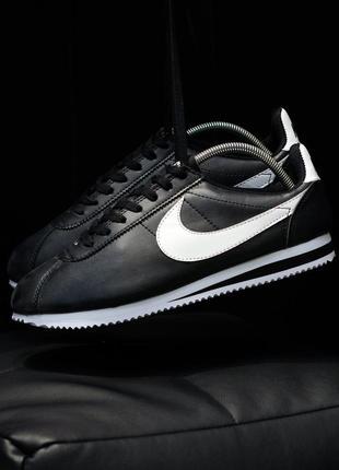 Nike classic cortez 🔺мужские кроссовки найк кортез черные с белым