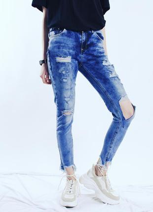 Голубые джинсы скинни рваные, светлые джинсы с дырками, джинсы...