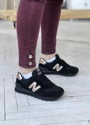 New balance 574 black/gold🔺женские кроссовки нью беланс черные...