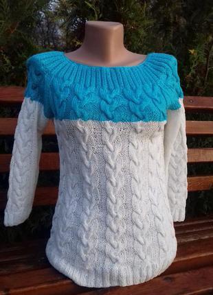 Пуловер - реглан с круглой кокеткой и косами