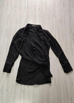 Распродажа до 31 марта!!!🔥 черная удлиненная рубашка с глубоки...