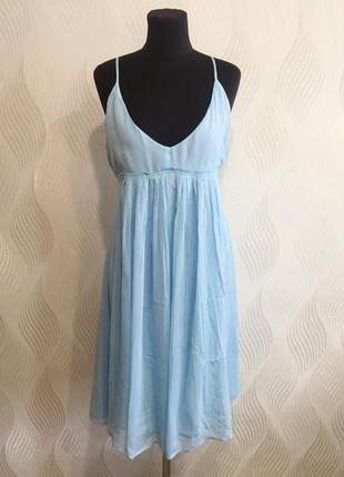 Легкое шифоновое платье сарафан небесно-голубого цвета