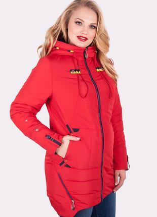 Женская куртка красная большие размеры 50 - 60
