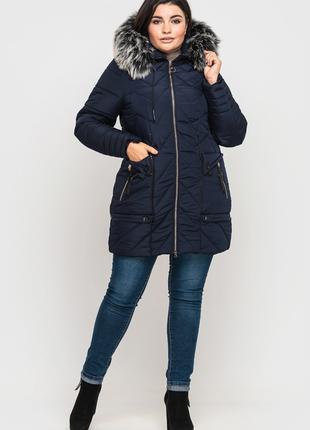 Женская зимняя куртка синяя большой размер