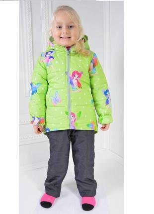 Детская демисезонная куртка на девочку с феями салатовая на ро...