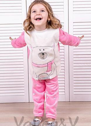 """Пижама на девочку розовая """"мишка"""" теплая на рост 128/134"""