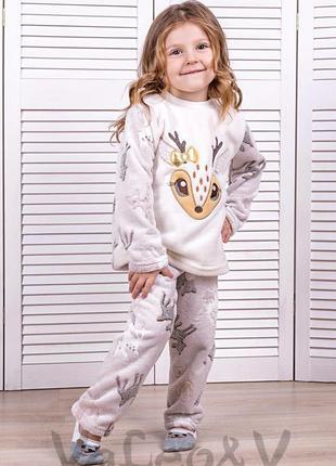 """Детская теплая пижамка """"оленёнок"""" на девочку рост 134"""
