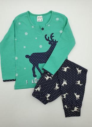 Детская пижама бирюзовая с оленем на 3-4 года/5-6 лет