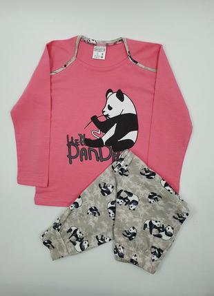 "Детская хлопковая пижама на девочку ""панда"" на 3-4 года/5-6/7-..."
