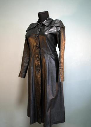 Готический черный кожаный плащ пальто