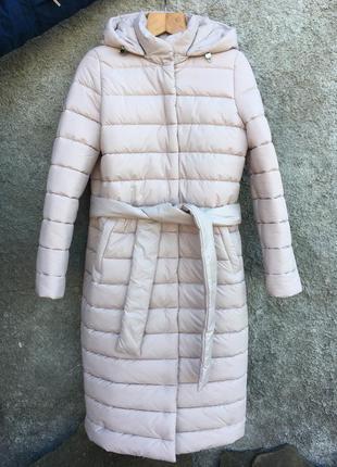 Зимний бежевый стеганный пуховик куртка с поясом cardo