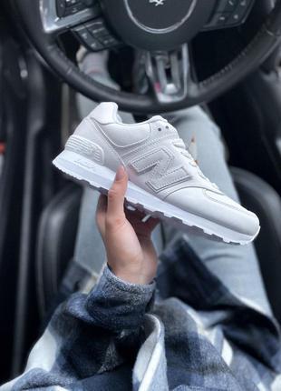 New balance  574  white🔺 женские кроссовки нью беланс белые
