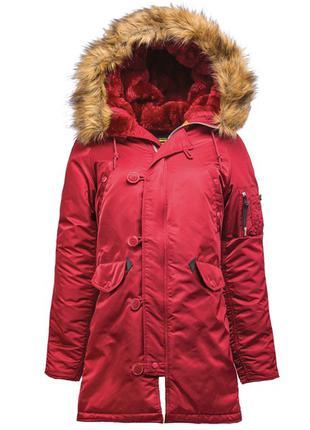 Зимова жіноча куртка аляска N-3B W Parka Alpha Industries ,red