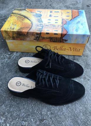 Замшевые мюли туфли на маленьком каблуке bella vita