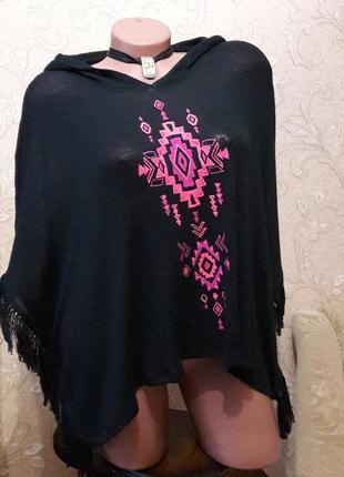 Пoнчо черное с капюшоном вязаное накидка