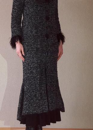 Фирменное вязаное длинное пальто s-m мех ламы
