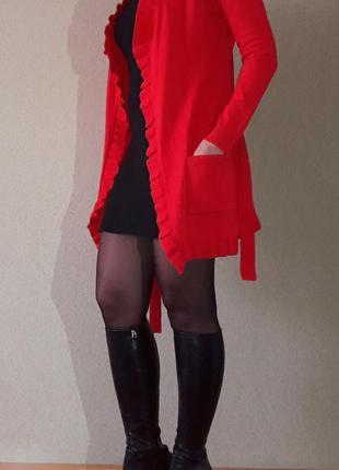 Красивый стильный кардиган красный фабричная турция цвета м-l