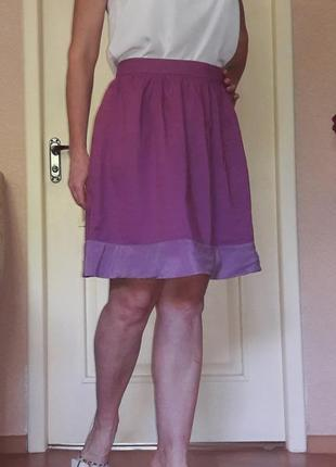 Воздушная юбка шёлк коттон темно розовая л