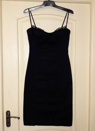 Элегантное черное платье чехол с разрезом s