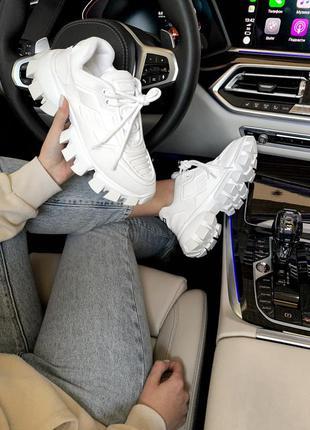 Prada cloudbust white 🔺 женские кроссовки прада белые