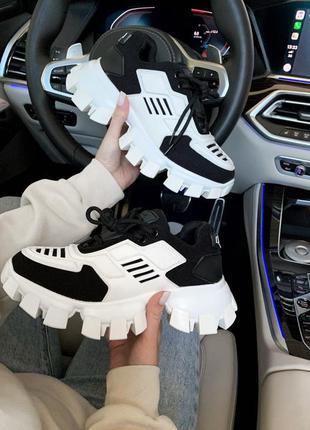 Prada cloudbust black/white🔺 женские кроссовки прада белые с ч...